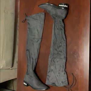 Over the knee gray suede boots